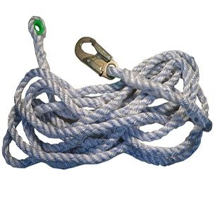 Miller 300L Vertical Rope Lifeline - 25 feet with Snap Hook and Loop