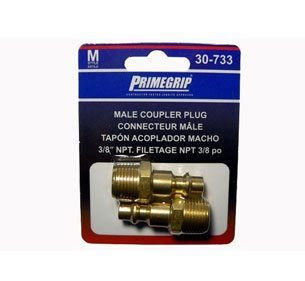 "Primegrip 3/8 inch Male Coupler Plug ""M"" Style – 2 Pack"