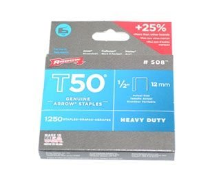 Arrow T50 Staples - 1/2 inch (1250 per pack);Heavy-Duty Staples